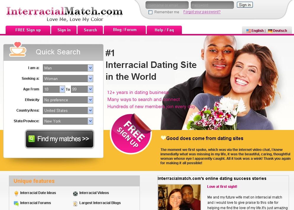 Interracial international dating sites